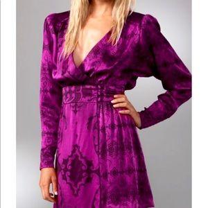 NWT Nanette Lepore Simone Silk Dress Fushia Size 0